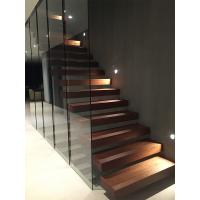 Cheap Clear glass railing floating stair with anti slip slots on steps for sale