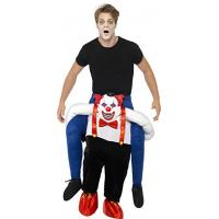 Cheap Men Halloween Sinister Clown Piggy Back Animal Mascot Costumes for sale