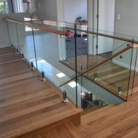Cheap Stainless steel spigot clear glass railing with wooden top handrail design for sale