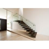 Cheap Build Floating Stair with clear glass railing for sale