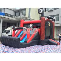 Cheap Pirate Ship Bounce Round Inflatable Combo Slide , Inflatable Bouncers For Kids Party for sale