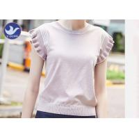 Cheap Sweet Ruffle Drop Short Sleeves Womens Knit Pullover Sweater Stripes Summer for sale