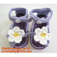 China Crochet newborn baby girl summer shoes baby moccasins hand knitted baby sandals crochel on sale