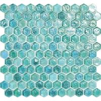 Quality Green blue water waving glass mosaic tile hexagon for your garden for sale