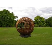 Cheap Life Size Metal Ball Corten Steel For Yard Decoration With Rust Surface for sale