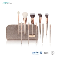 China Champagne Full Face Brush Set With Zipper Pouch on sale