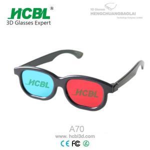 Black ABS frame Anaglyph 3D Glasses Red Blue For TV  / Cyan 3D Glasses