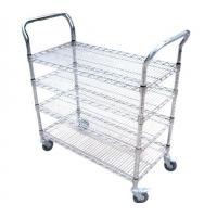 Cheap Multi-layer wire mesh cart(shelf trolley) for sale