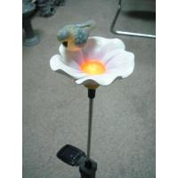 Cheap ODM Design Epoxy Resin Crafts Standing Flower Light with Bird for Garden Decoration for sale