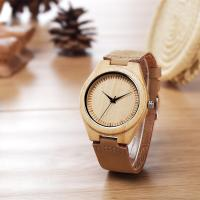 Cheap Classical Wood Dial Retro Wood Leather Watch With Quartz Movement for sale