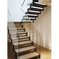 Cheap Stainless steel straight solid wood staircase with glass balustrade for sale