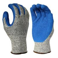 Cheap C1003 13 Gauge Cut 5 Liner, with Blue Latex Palm Coating, Crinkle Finished for sale