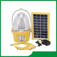 Cheap Led camping solar lantern with solar panel, mobile phone charger, FM radio function for camping lighting for sale