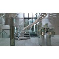 Cheap Prefab metal stringer frame glass railing arc curved staircase for sale