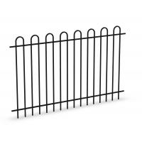 Cheap Bow Top Tubular Steel Fence Panels INTERPON powder coated at black 1100mm x 2200mm for sale