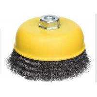 China Yellow Color Cup Wire Brush Crimped , Grinder Wire Cup Brush For Angle Grinder on sale