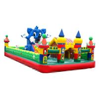 Cheap 10-15 Children Play Inflatable Jumpers 0.55mm Tarpaulin Sewing Castle Bounce House for sale