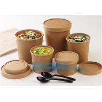 China Eco Friendly Disposable takeaway food container Kraft Paper noodle bowls Hot Soup Cup With Paper Flat Lid bagease packag on sale