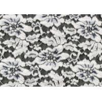 Cheap White Flower Brushed Lace Stretchable , Rayon Nylon Spandex Fabric CY-LQ0003 for sale
