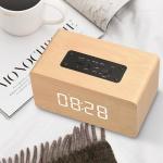 Cheap Wooden Wireless Alarm Clock Bluetooth Speaker Multi-functional Plug-in card Computer Speaker for sale