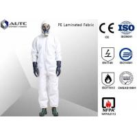 Cheap PE Laminated PPE Safety Wear , Chemical Resistant Coveralls With SMS Back Panel for sale