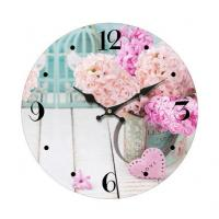 Cheap Promotional Custom printed glass wall clock Antique Round Shape Metal Wall Clock for home decoration for sale