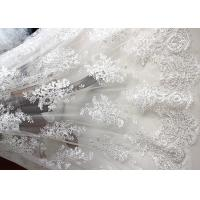 Cheap Luxury Ivory Embroidery Cord Sequin Lace Fabric / French Bridal Sequin Mesh Fabric for sale