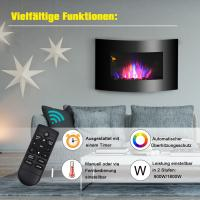 China 35 Wall Mounted Electric Fireplace Black Curved Tempered Glass  SPACE Heater(Pebbles Fuel) COLORFUL LED FLAME on sale