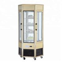 Cheap 608L Fan Cooling Low Power Six - Sides Glass Refrigerated Cake Display Cabinets Cold Storage And Freezing for sale