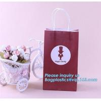 China Luxury fashion customized ribbon handle black white gift paper shopping bag,Grey Rope Handled Wine glass Carrier bag wit on sale