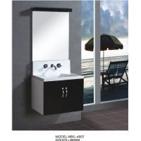 Cheap Floating wall cabinet acrylic - resin integrated sink basin , black bathroom wall cabinet NON Drawers for sale