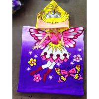 China 50*100cm 100% polyester hooded baby bath towel,poncho for girls  butterfly on sale