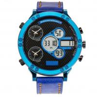 Cheap Leather strap Three Time analog digital watch best mens sport watches for sale