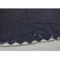 Cheap Navy Sequin Mesh Fabric , Embroidered Lace Fabric By The Yard For Evening Dresses for sale