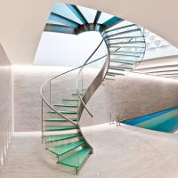 Cheap Interior glass spiral staircase with inox steel rod railing design for sale