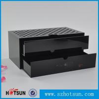 Cheap Custom made acrylic storage box cost-effective black acrylic box with two drawer for sale