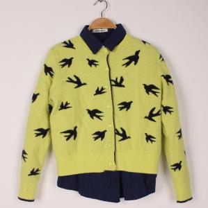 China Yellow Jacquard Sweat Shirts Chidori Cardigan Top Long Sleeve V neck Knitted Knitwear on sale