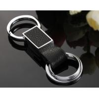 Cheap wholesale genuine leather keychains with double keyrings for sale