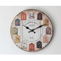 Cheap Colorful Retro Arabic Numerals Style Vintage Wall Clock France Paris Colorful French Tuscan Style Creative Wood Clock for sale