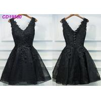 Cheap Homecoming Black Lace Cocktail Dress / Beach Sleeveless Short Cocktail Dresses for sale