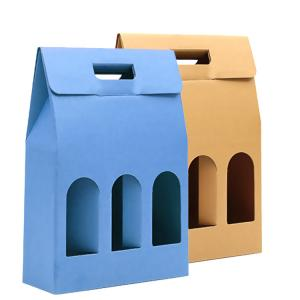 China FSC Kraft Paper 3 Pack Wine Bottle Gift Box For Champagne on sale