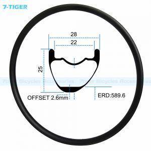 Cheap 7-tiger carbon mountain bicycle wheel rim 29 er asymmetric offset XC bike 25x28 mm Tubeless Compatible for sale