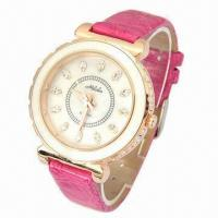 Cheap Analogic Quartz Watch with CZ Stone on Case, Leather Strap, Fashionable Style on 2013 for sale