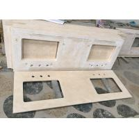 Cheap Double Sink Marble Bathroom Sink Tops , Cream Marfil Marble Stone Countertops for sale