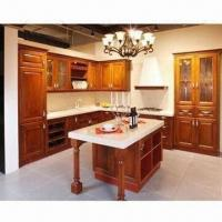 Cheap Birch Wood Kitchen Cabinet with American Style, Available in Red for sale