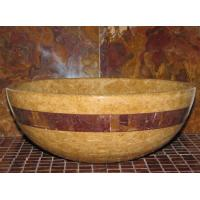 Cheap Inca Gold Marble Kitchen Bathroom Sinks With Multi Red Onyx Stone Mosaic Inlay for sale