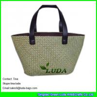Quality fashion beach bag with patternss natural seagrass straw tote bags wholesale