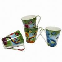 Cheap Ceramic Mugs, 11oz Capacity, Measures 10 x 8.5cm, Fashionable Design Decal, Microwave Safe for sale