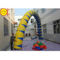 Cheap Airblown Giant Yellow / Blue PVC Inflatable Arch 13 ft - 50 ft Wide Inflatable Archway for sale