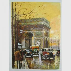 Cheap Contemporary Paris Street Scene Oil Painting Arc De Triomphe On Canvas for sale